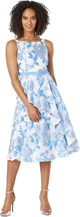 024b230e215 Sky Blue Multi. 12. Adrianna Papell. Organza Jacquard Ruffled Cocktail Dress