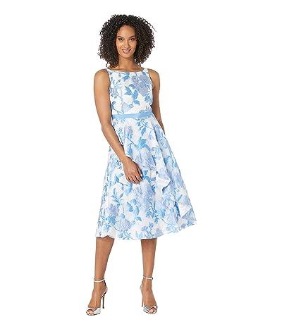 Adrianna Papell Organza Jacquard Ruffled Cocktail Dress (Sky Blue Multi) Women