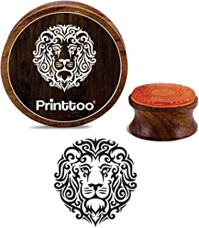 Printtoo Round Wooden Rubber Stamp Lion Face Pattern Christmas Secret Santa Gift-2 inch