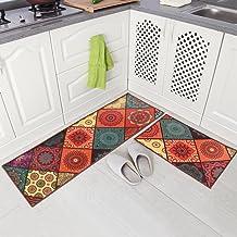 "Carvapet 2 Piece Non-Slip Kitchen Mat Runner Rug Set Doormat Vintage Design Baroque Style,Square (20""x59""+20""x31"")"
