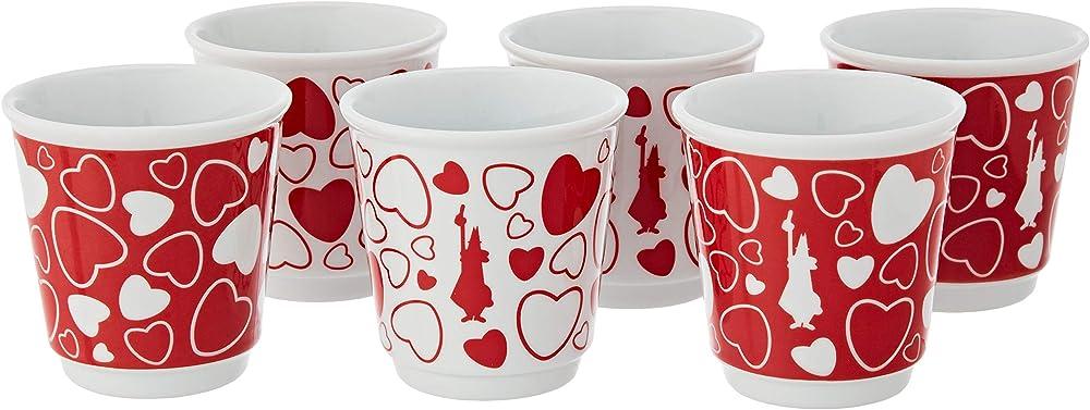 Bialetti ,  set 6 bicchierini omino & cuore, in  porcellana Y0TZ087