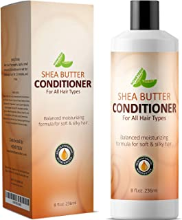 Natural Shea Butter Conditioner (Fragrance Free) with Pure African Shea Butter, Silk Peptide, and Pomegranate Blend – Repairs Broken, Dry and Thinning Hair – Contains No Silicones, Sulfates, or Harmful Chemicals – Made in USA By Honeydew Products, 8 fl.oz. 236ml