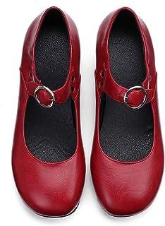 Camfosy Mocassins Femme Cuir Talons, Mary Jane à Talons Ballerines Plates Souple Bride Cheville Chaussures Printemps Eté N...