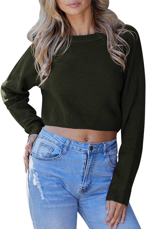 Fixmatti Women Cropped Sweaters Crewneck Long Sleeve Knitted Tops