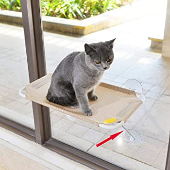 LSAIFATER All Around 360° Sunbath and Lower Support Safety Iron Cat Window Perch, Cat Hammock Window Seat for Any Cats