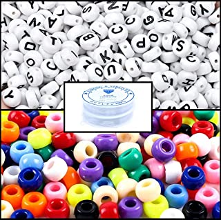 Amaney 1200pcs Beads Kit, Letter Beads, Large Hole Pony Beads Multi Color, White Acrylic Alphabet Beads for Name Bracelets, Jewelry Making and Crafts with 2 Roll Elastic String Cords