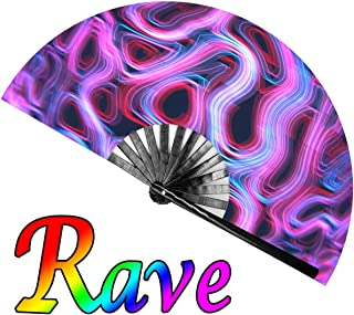 OMyTea Large Rave Clack Folding Hand Fan for Men/Women - Chinese Japanese Bamboo Handheld Fan - for EDM, Music Festival, Club, Event, Party, Dance, Performance, Decoration, Gift (Psychedelic Neon)