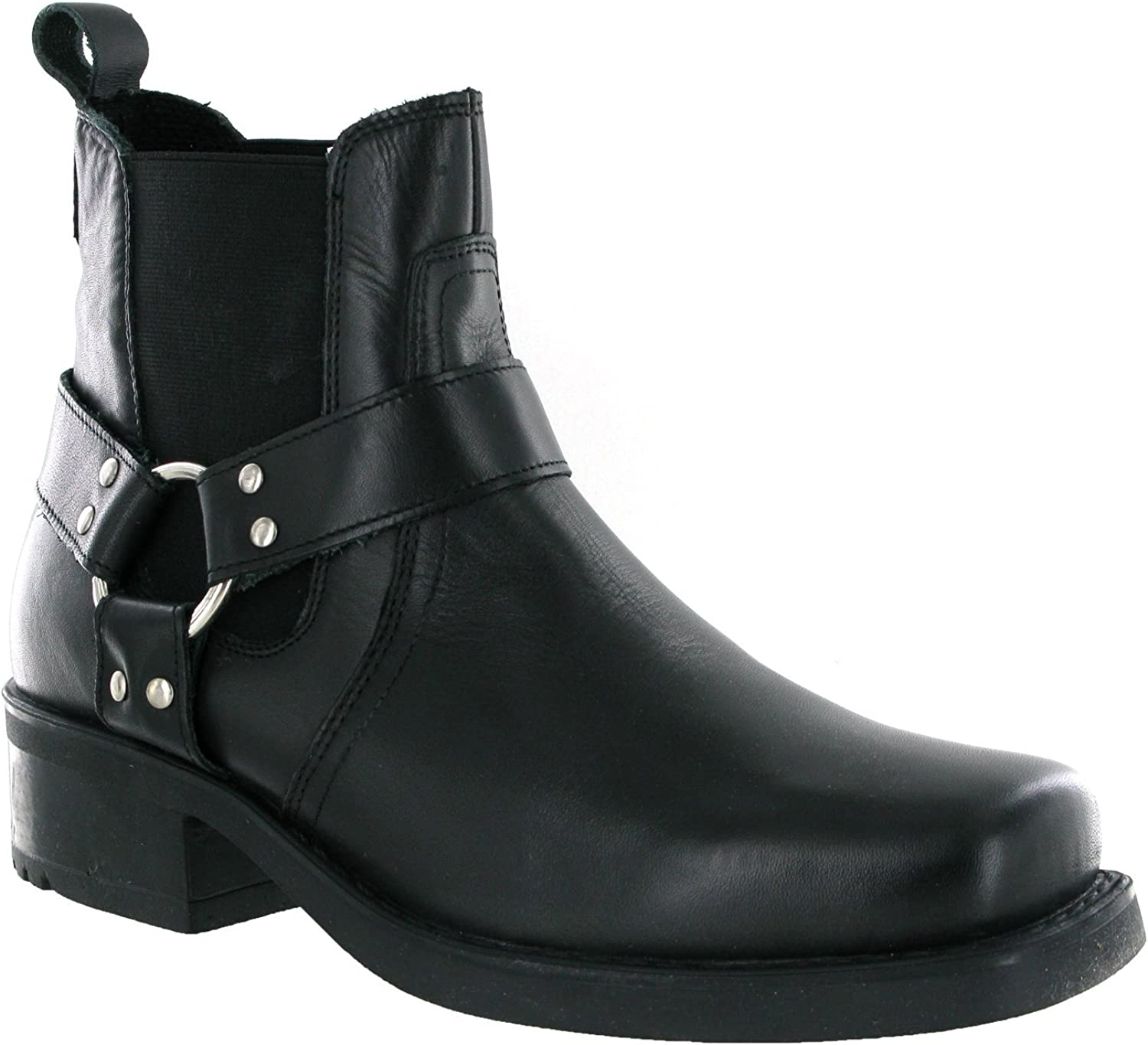 Harley biker cow ankle harness boots leather