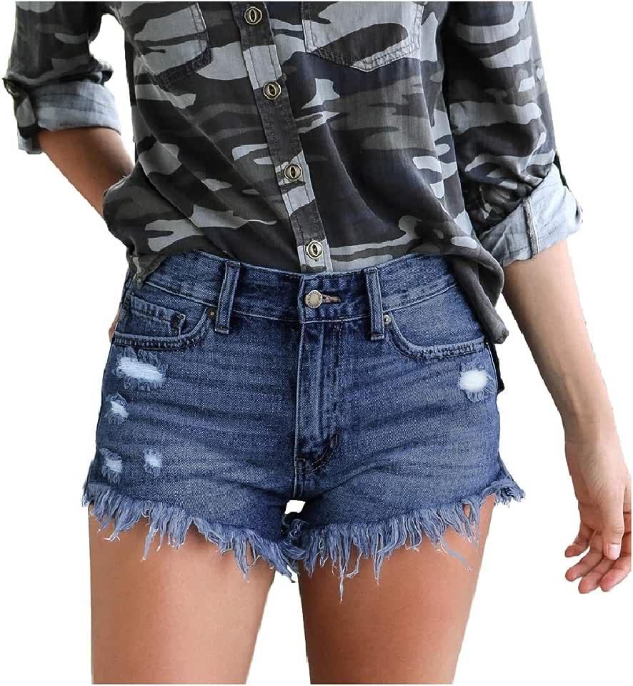 RingBong Womens Mid-Waist Holes Hot Shorts Frayed Raw Hem Sexy Denim Shorts