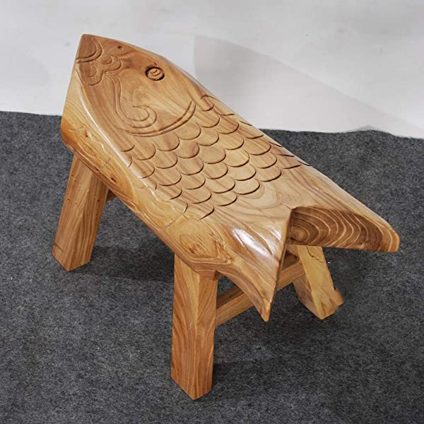 Wooden Elm Stool Hand Made Fish Footstool Kids Step Stool Retro Waterproof Non Slip Small Stools For Children Change Shoes Log 40x16x25cm 16x6x10inch