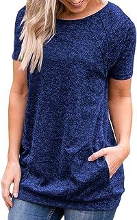 بلوزة نسائية صيفية قصيرة الأكمام برقبة دائرية سريعة الجفاف ورائعة قميص فضفاض للتمارين الرياضية مع جيوب