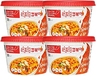 RICE CUP Korean Tteokbokki Original 5.74oz(163g) x 4ea | Spicy Rice Cake | Tteokbokki | Rice Cake Tteokbokki | Popular Korean Snack