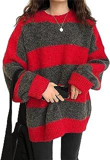 Jersey a rayas Argyle Y2k para mujer, suéter de punto vintage, manga larga, cuello redondo, ropa de moda, ropa de calle, o...