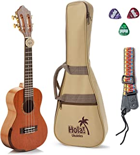 Concert Ukulele Professional Series by Hola! Music (Model HM-424SMM+), Bundle Includes: 24 Inch SOLID Mahogany Top Ukulele with Aquila Nylgut Strings Installed, Padded Gig Bag, Strap and Picks