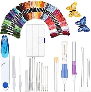 EXTSUD Stickerei Kit Set, 50 Döckchen bunten Häkelnadeln Nadeln-Schere für Kreuzstich Set komplett Instrument Nähte Handarbeit Geschenk für Liebhaber von Nähen Basteln