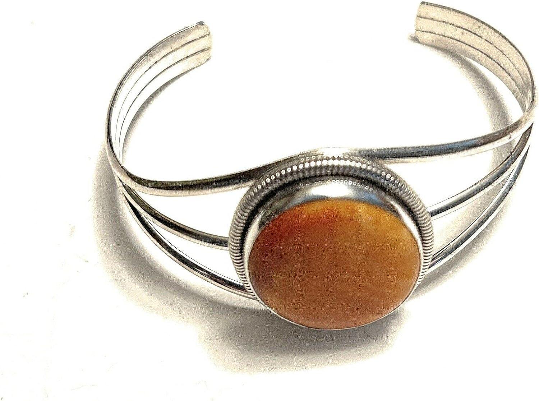 Nizhoni Traders LLC Navajo Orange Spiny Sterling Silver Cuff Bra