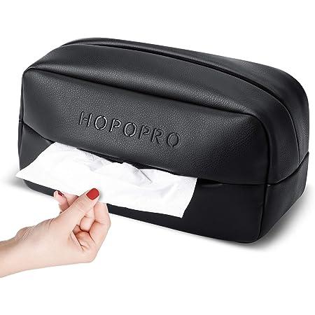 HOPOPRO 車 ティッシュケース 車用 ティッシュカバー ティッシュホルダー 車載ティッシュボックス PU材質 高級仕様 小物入れ 車載用 シートバックポケット ヘッドレスト/アームレスト/ダッシュボードに取り付け可能 (ブラック)