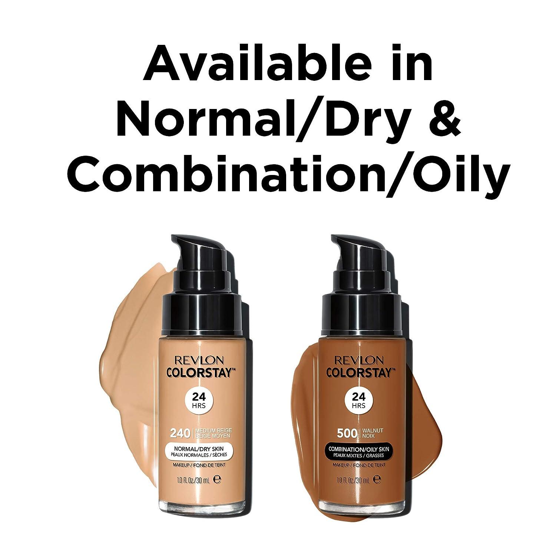 Revlon ColorStay Makeup for Normal/Dry Skin SPF 20, Longwear Liquid Foundation, with Medium-Full Coverage, Matte Finish, Oil Free, 240 Medium Beige, 1.0 oz
