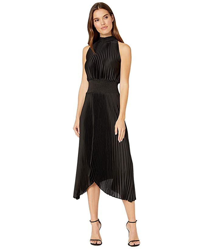 1.STATE  Halter Neckline Pleated Charme Dress (Rich Black) Womens Dress