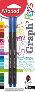 Maped Graph Peps M749140Fineliner Metal Tip Pen 0.4Mm Pack Of 2, Blue
