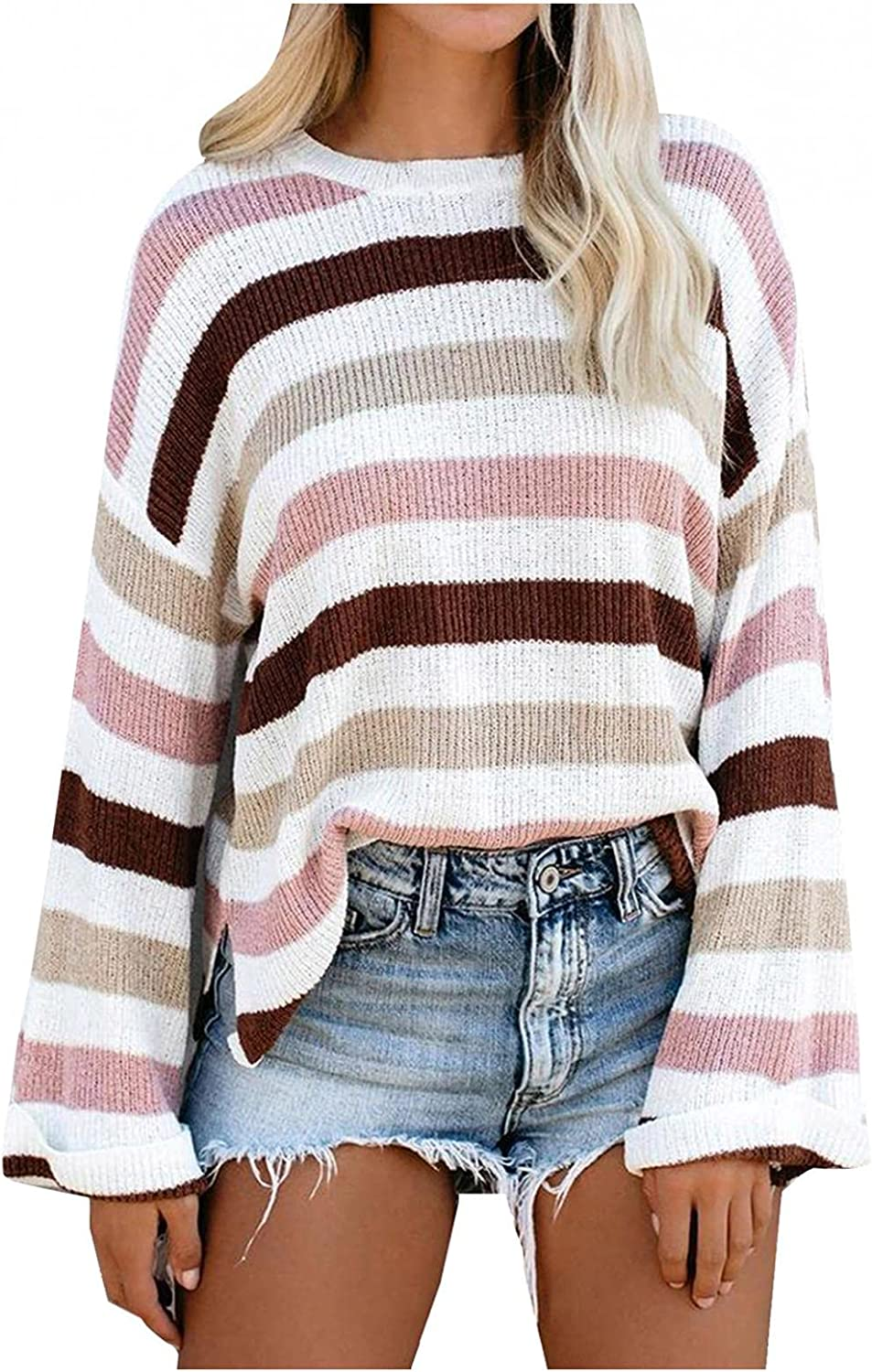 Sunhusing Women's Boat Neck Striped Print Sweater Tops Patchwork Batwing Sleeve Loose Blouse Fall Jumper Pullovers Knitwear