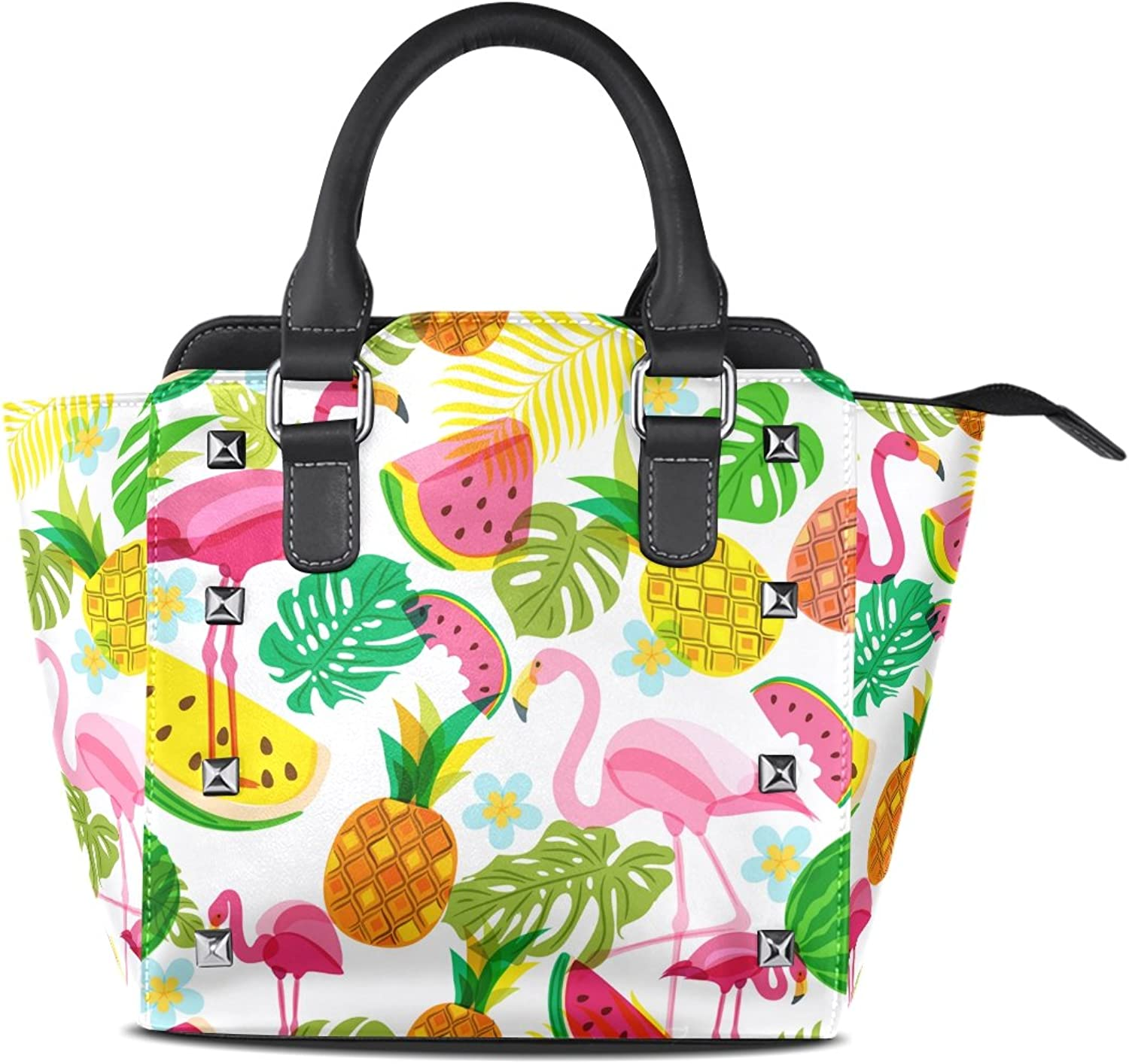My Little Nest Women's Top Handle Satchel Handbag Summer Tropical Pink Flamingo Watermelon Pineapples Ladies PU Leather Shoulder Bag Crossbody Bag