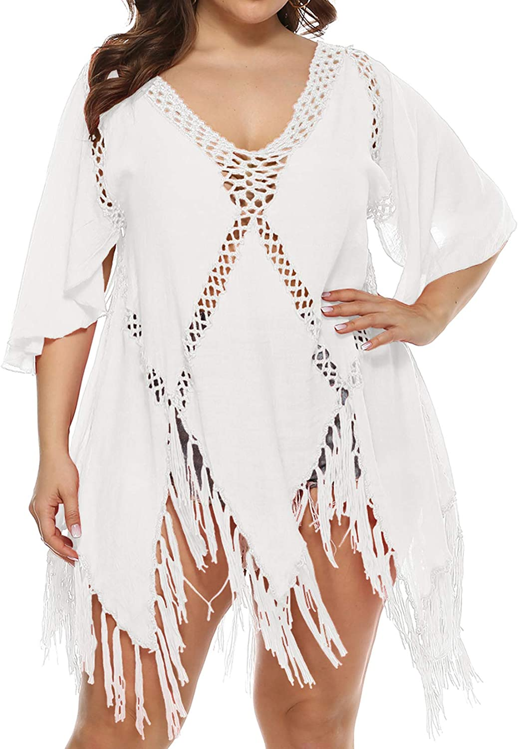 Lu's Chic Women's Crochet Beach Dress V Neck Cover Up Summer Knit Bathing Suit Coverups Hollow Solid