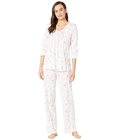 Carole Hochman Cotton Jersey Long Pajama Set (White Floral) Women