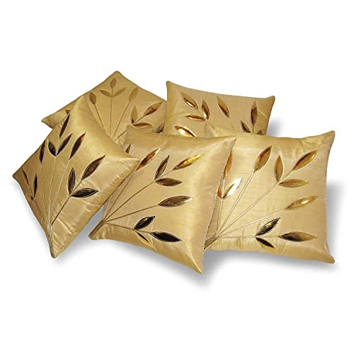 Czar Home Golden Beige Leaves Cushion Covers 12x12 Set of 5 (Small)