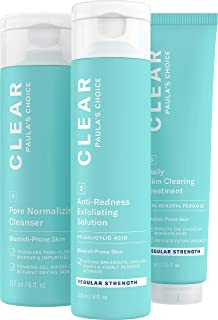 Paula's Choice CLEAR Regular Strength Acne Kit, 2% Salicylic Acid & 2.5% Benzoyl Peroxide for Facial Acne & Pores, Redness Relief, PACKAGING MAY VARY