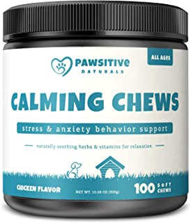 Calming Treats For Dogs - 100 Soft Chew Bites for Stress & Anxiety Relief with Valerian Root - Separation & Composure Aid ...