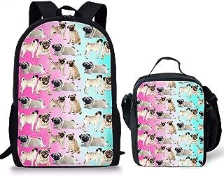 HUGS IDEA Pug Collage Backpack Set Children Cute School Bag Lightweight Shoulder Bookbag and Lunch Bag 2 Pcs