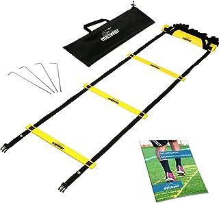 Escalera de coordinación de 6m con bolsa y clavijas | Escalera de velocidad | Escalera de velocidad para fútbol, fitness, deportes, balonmano | + eBook gratis