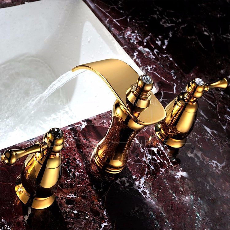 MMYNL Waschtischarmatur Bad Mischbatterie Badarmatur Waschbecken Antik Bronze verGoldet Crystal Doppelzimmer Keramik Ventil fllt Kaltes und Warmes 3-teiliger Satz Badezimmer Waschtischmischer