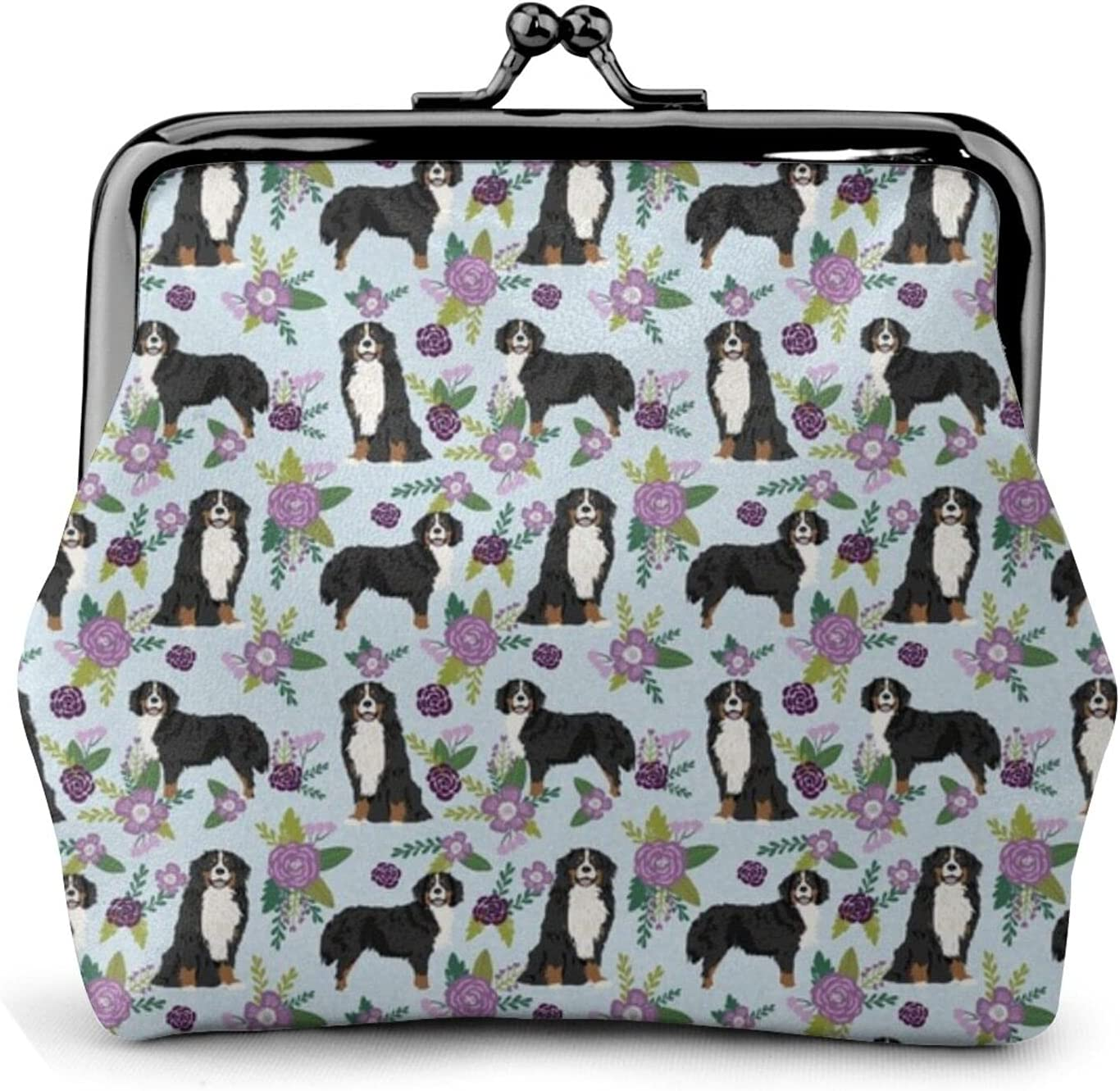 Bernese Mountain Dog 427 Leather Coin Purse Kiss Lock Change Pouch Vintage Clasp Closure Buckle Wallet Small Women Gift