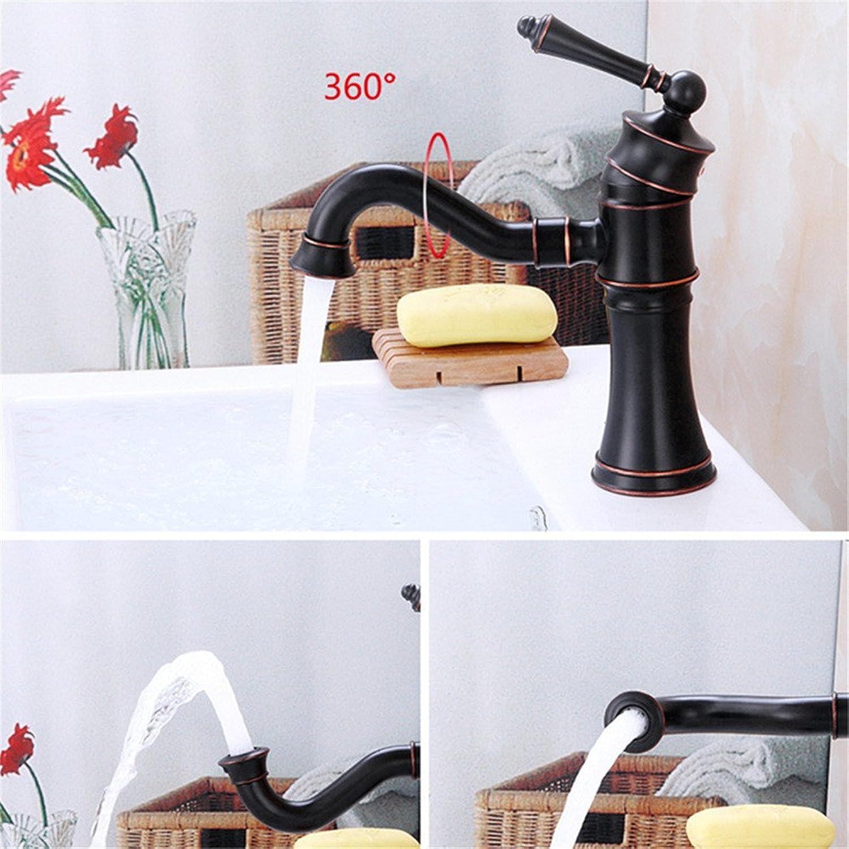 Retro ORB schwarz rotierenden Wasserfall Auslass heies und kaltes Wasser Keramikventil Einlochmontage Einhand-Bad Becken Wasserhahn kurzen Abschnitt