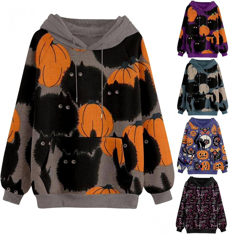 AIHOU Halloween Clothes for Women Pumpkin Face Black Cats Graphic Hoodies Long Sleeve Sweatshirt for Women Retro Pullover