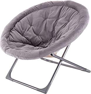 Giantex Oversized Large Folding Saucer Moon Chair Corduroy Round Seat Living Room (Gray)