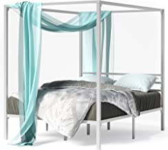Zinus Patricia Double Bed Frame - White Canopy Four Poster Bed with Metal Slats