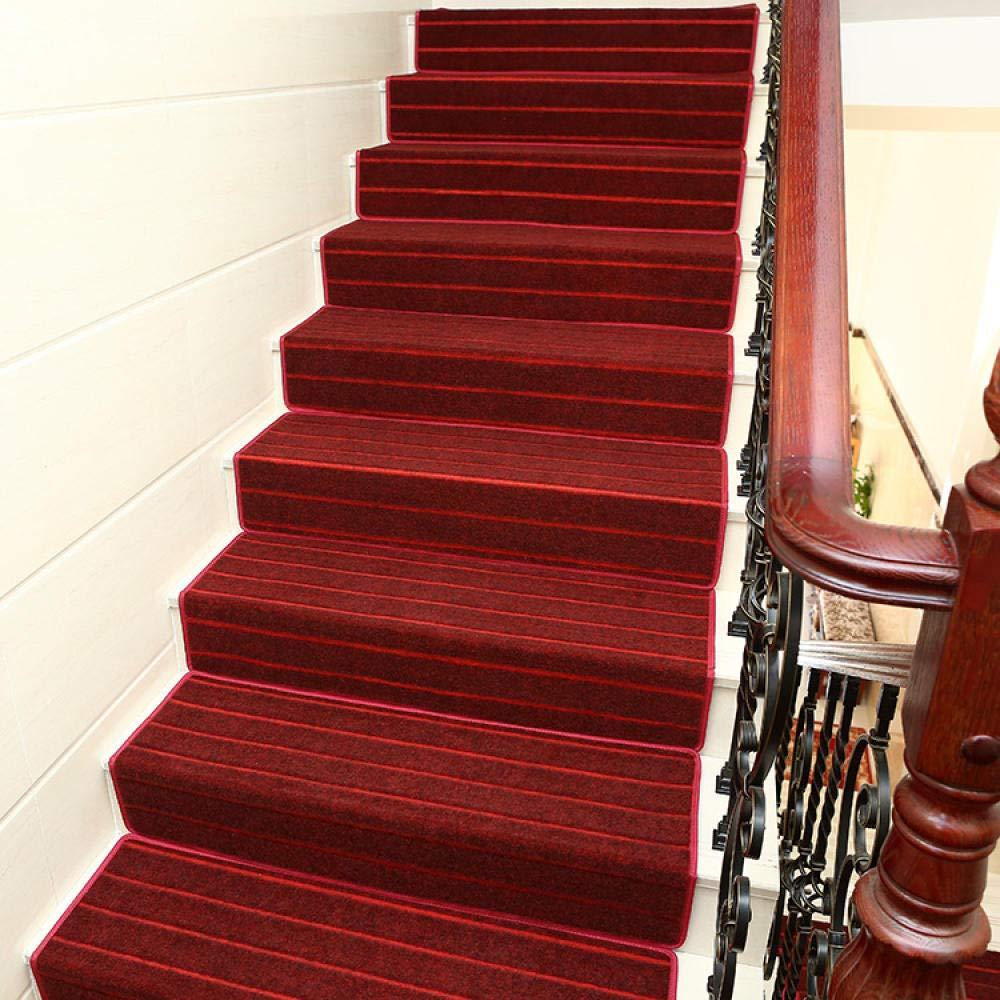 XOCKYE Alfombras para Escalera,Set de 15 Unidades Espesar decoración del hogar para Escalera Antideslizantes Alfombrilla para peldaños @Franja roja_Los 80x24cm: Amazon.es: Hogar
