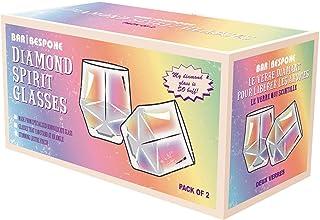 Bar Maßgeschneidertes Set von 2 Diamant-Gläsern in Regenbogen-Optik, Metallic-Whisky-Gläsern, 425 ml