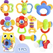 9 Pcs Infants Toys 3 6 9 12 Months,Baby Rattle Teether Toy, Newborn Mouth Toys Shake and Grab,Rattle Musical Toys with Storage Bottle Baby First Rattle and Teether Toy Gift for Infant, Newborn Baby