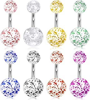 Briana Willams 14G Stainless Steel Short Belly Button Rings 6mm 1/4 Inch Navel Belly Rings Barbell