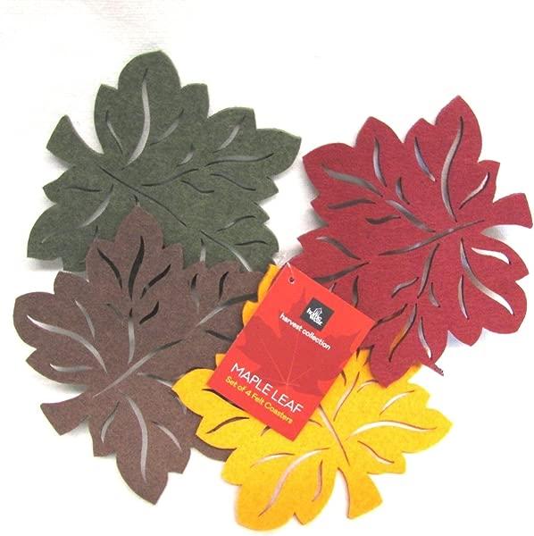 Homewear Harvest Collection Maple Leaf Set Of 4 Felt Coasters 6