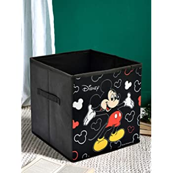 Kuber Industries Disney Mickey Mouse Print Non Woven Fabric Foldable Large Size Storage Cube Toy, Books, Shoes Storage Box with Handle (Black)