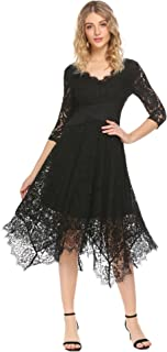 ACEVOG Women Floral Lace Dress Elegant V-Neck 3/4 Sleeve Asymmetrical Swing Party Dress