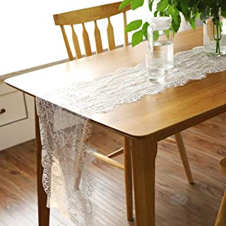 BIT.FLY White Overlay Floral Lace Table Runner for Vintage Wedding Reception Party Baby & Bridal Shower Boho Decoration - 14 x 120 inch, Pack of 4