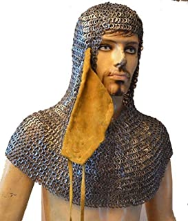 Chain Mail Coif Ventail Leather Ventail Riveted Chain Mail Coif Aventail