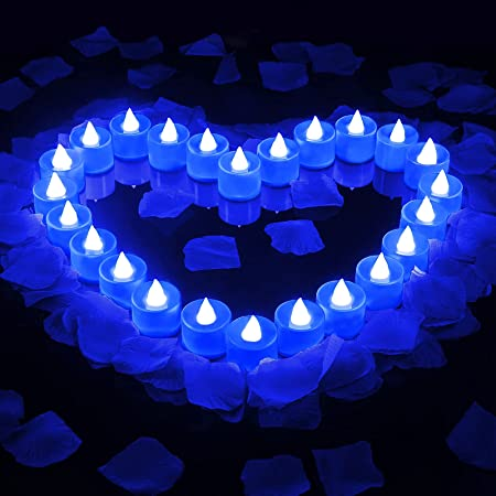 800 Pieces Artificial Rose Petals with 24 Pieces Flameless LED Tea Lights Candle Romantic Flameless Flickering Candle for Romantic Valentine's Day Anniversary Wedding Honeymoon (Blue)