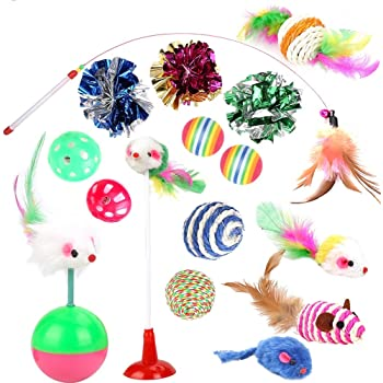 Cat Toys Kitten Toys Assortments, 16PCS Variety Kitty Toy Set Including Interactive Feather Teaser Toy, Mouse Tumbler, Mylar Crinkle Balls Rainbow Balls Bells Toys, for Chewing Playing (Random Color)